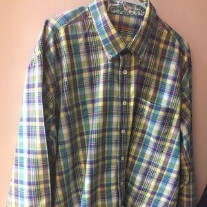 Alan Flusser cotton plaid men's shirt, size XXL.
